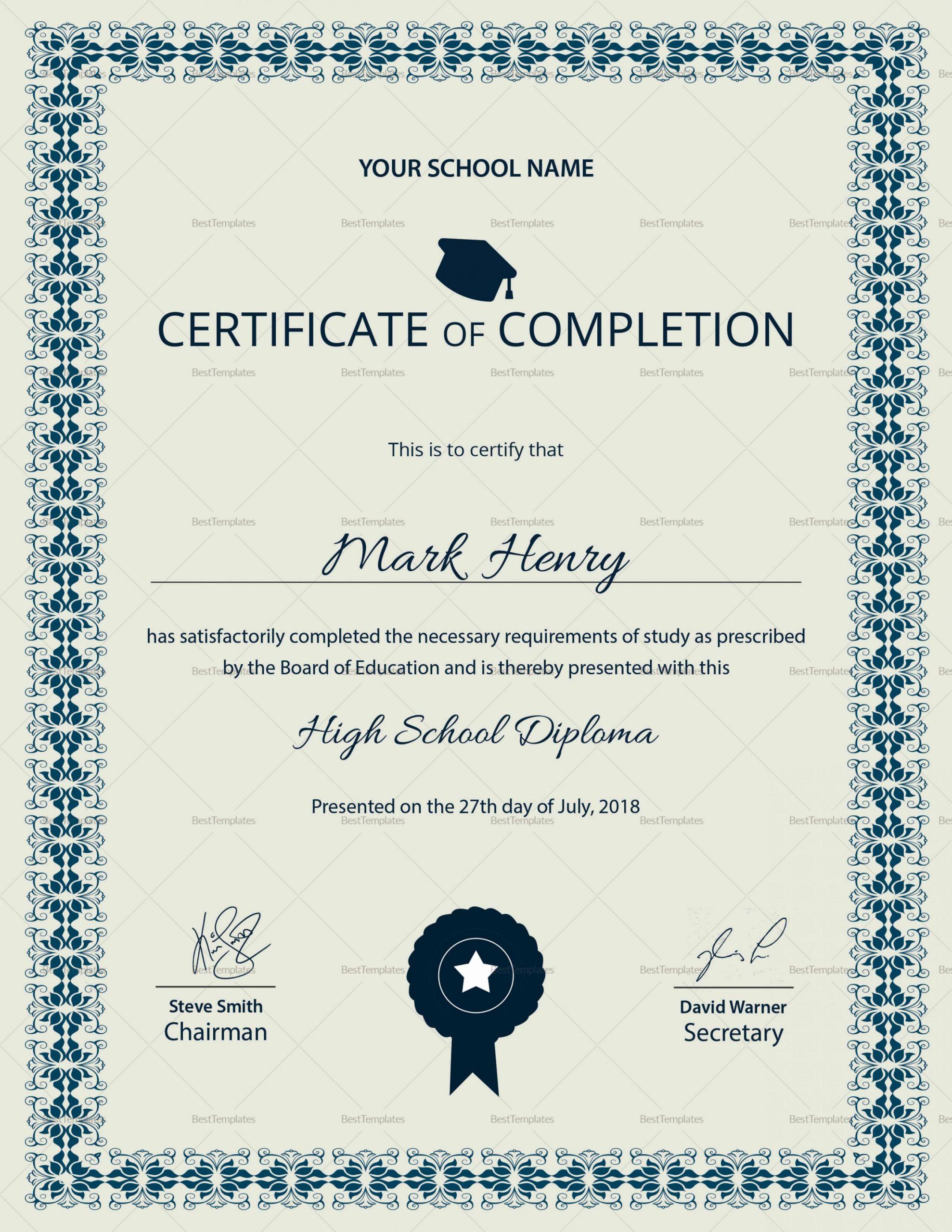 High School Certificate Template Inspirational High School Certificate Template