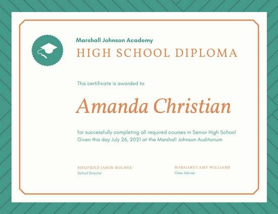 High School Certificate Template Luxury Customize 325 High School Diploma Certificate Templates