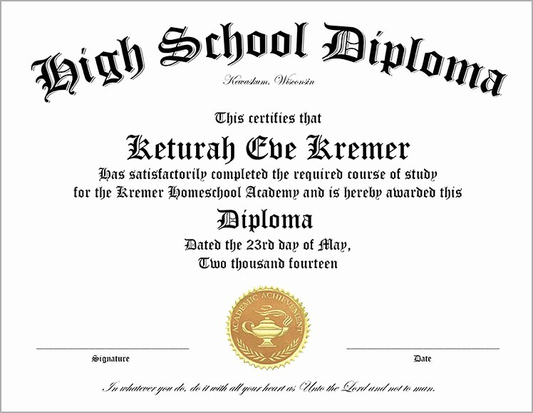 High School Certificate Template New 30 Free High School Diploma Template Printable