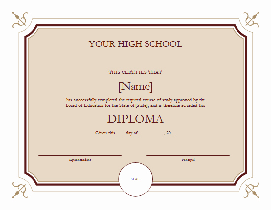 High School Diploma Certificate Template Lovely High School Diploma Template