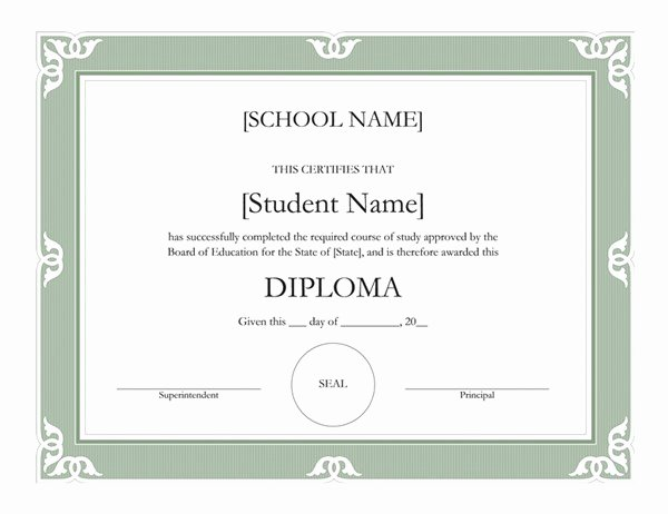 High School Graduation Certificate Template Best Of High School Diploma Certificate Fancy Design