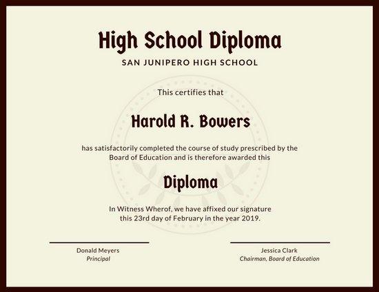 High School Graduation Certificate Template Fresh Customize 325 High School Diploma Certificate Templates