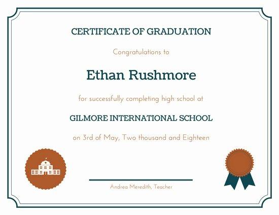 High School Graduation Certificate Template Inspirational Customize 325 High School Diploma Certificate Templates