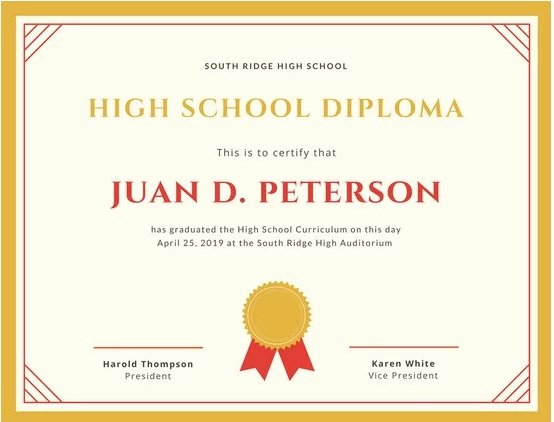High School Graduation Certificate Template Lovely 37 High School Diploma Template 2019 Free Doc