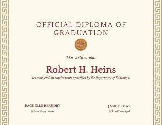 High School Graduation Certificate Template Lovely Customize 137 High School Diploma Certificate Templates