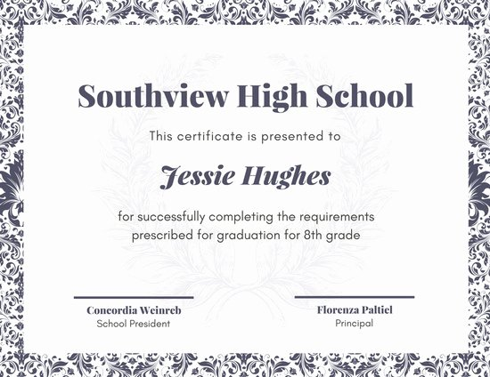 High School Graduation Certificate Template Lovely Customize 325 High School Diploma Certificate Templates