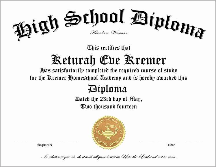 High School Graduation Certificate Template Luxury 30 Free High School Diploma Template Printable