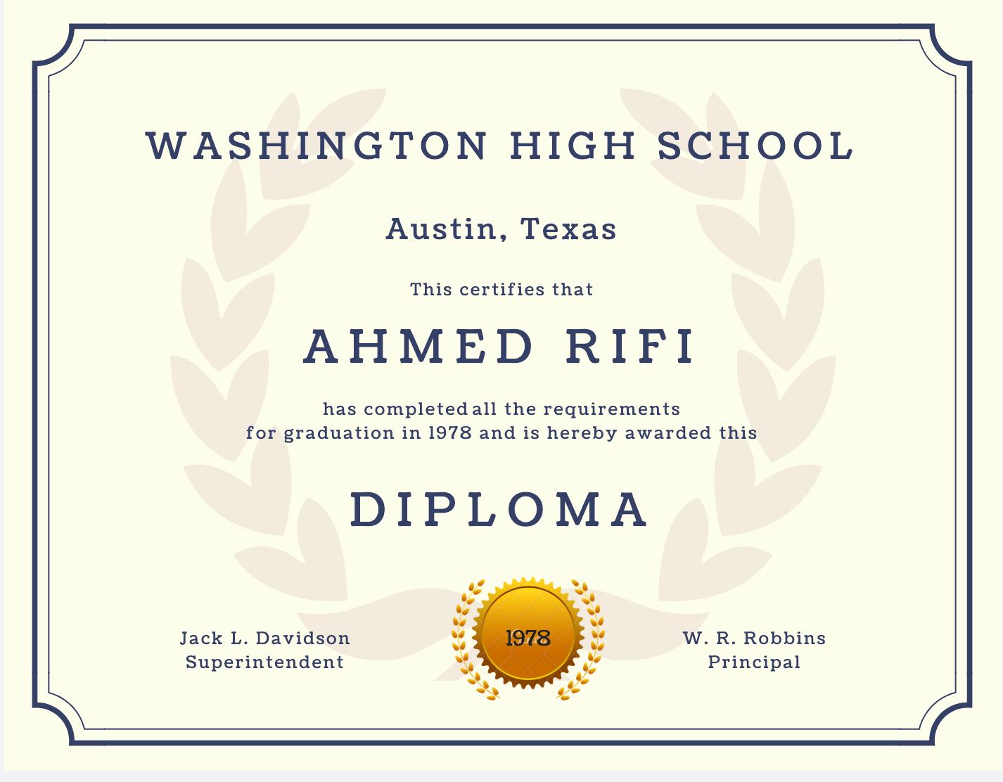 High School Graduation Certificate Template New 60 Free High School Diploma Template Printable
