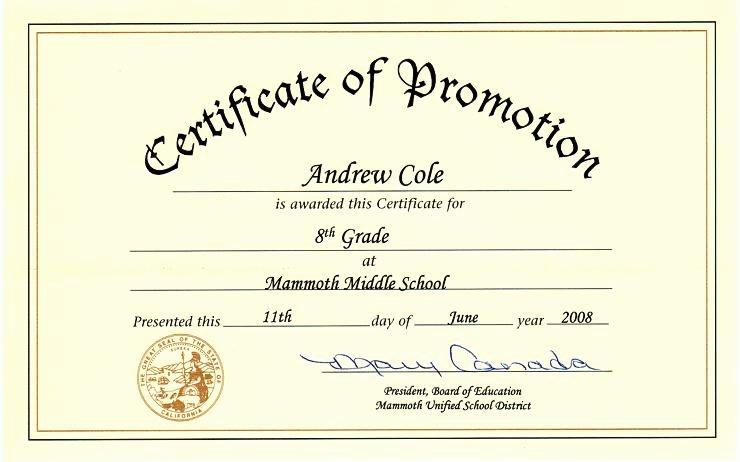 High School Graduation Certificate Template Unique 29 Of Middle School Certificates Template