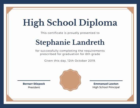 High School Graduation Certificate Template Unique Diploma Certificate Templates Canva