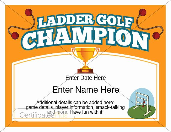 Hole In One Certificate Template Best Of Ladder Golf Certificate Champion Award Ladder Golf Award