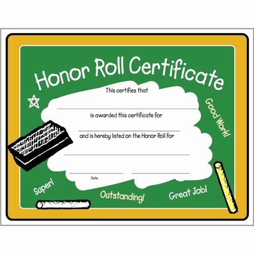 Hole In One Certificate Template Lovely Colorful Honor Roll Certificate 8 1 2 X 11 Colorful Honor