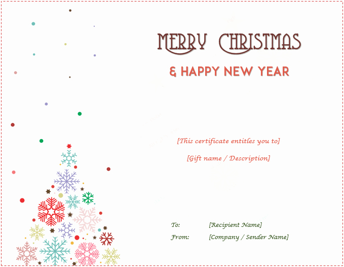 Holiday Gift Certificate Template Lovely Christmas Gift Certificate Templates Editable and