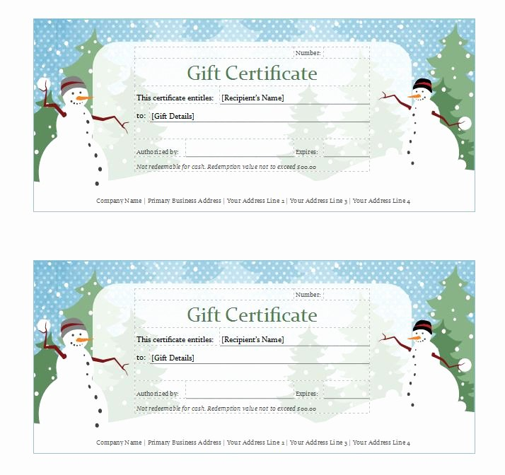 Holiday Gift Certificate Template Luxury Holiday Gift Certificate Template