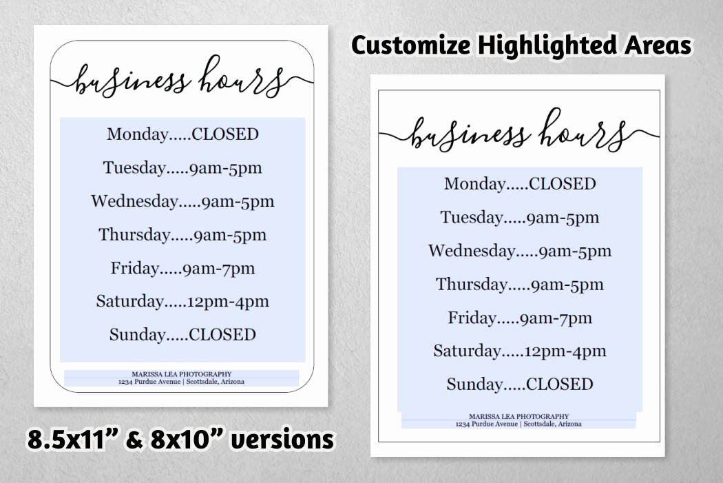Holiday Hours Template Word Awesome Business Hours Sign Printable Template Hours Of