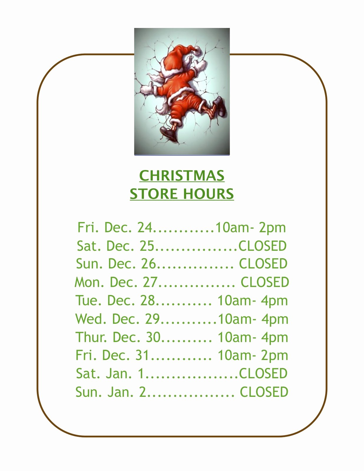 Holiday Hours Template Word Beautiful Christmas Store Hours Template – Festival Collections