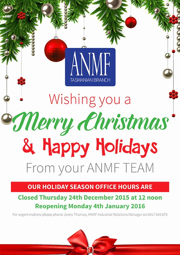 Holiday Hours Template Word Elegant Anmf Tas Branch Holiday Season Fice Hours – Australian
