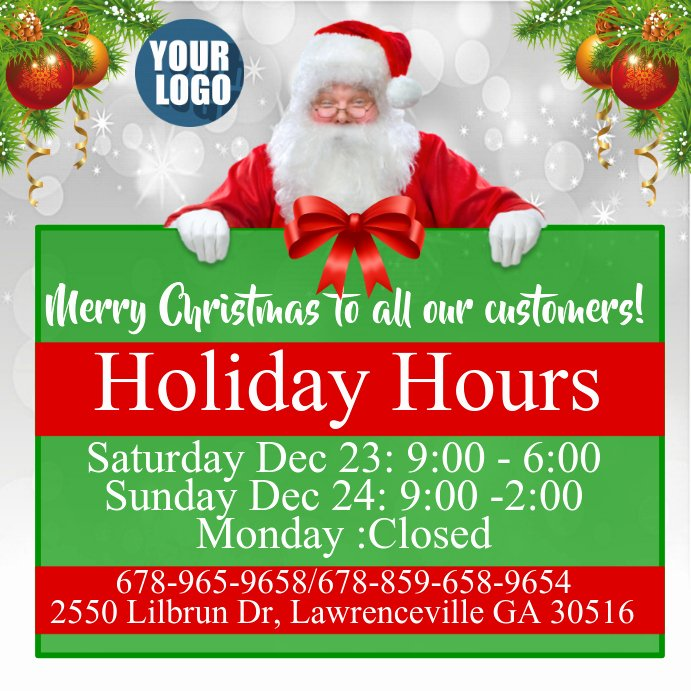 Holiday Hours Template Word Inspirational Christmas Hours Template