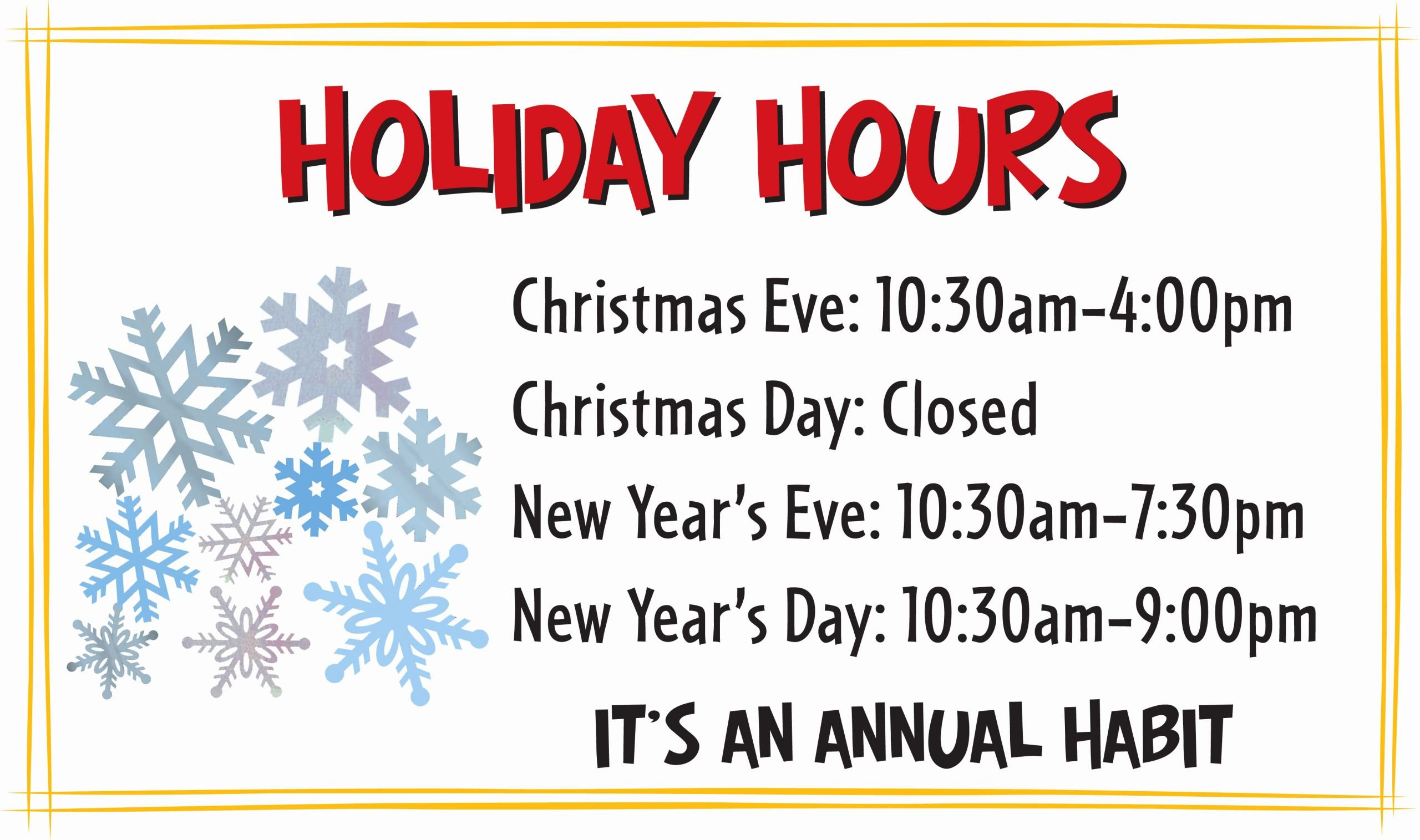 Holiday Hours Template Word Luxury Habit Holiday Hours