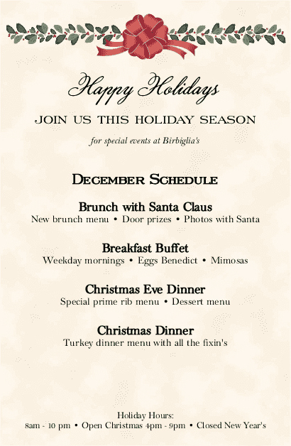 Holiday Hours Template Word New Holiday Dinner Flyer