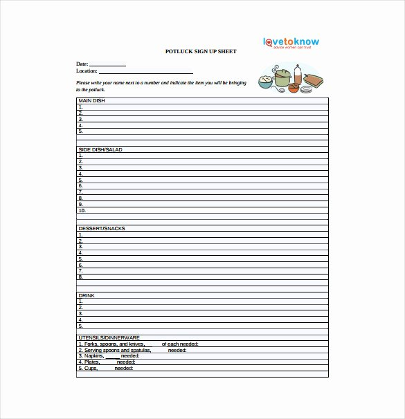 Holiday Potluck Signup Sheet Template Best Of 22 Sign Up Sheet Templates Free Sample Example format