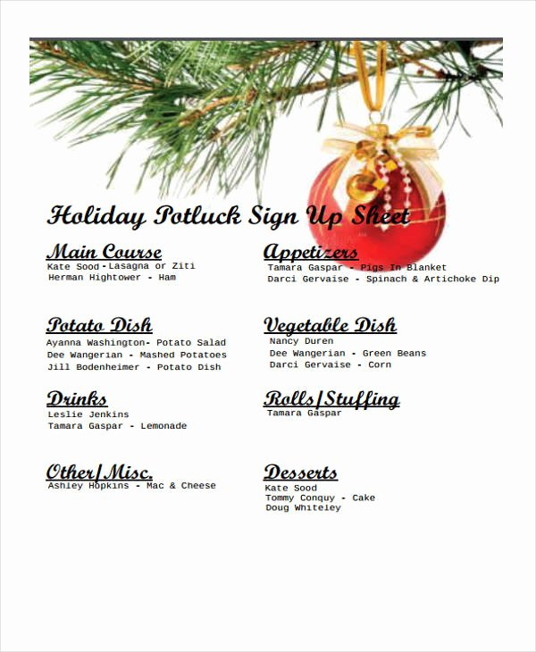 Holiday Potluck Signup Sheet Template Inspirational Holiday Sign Up Sheet Templates Free