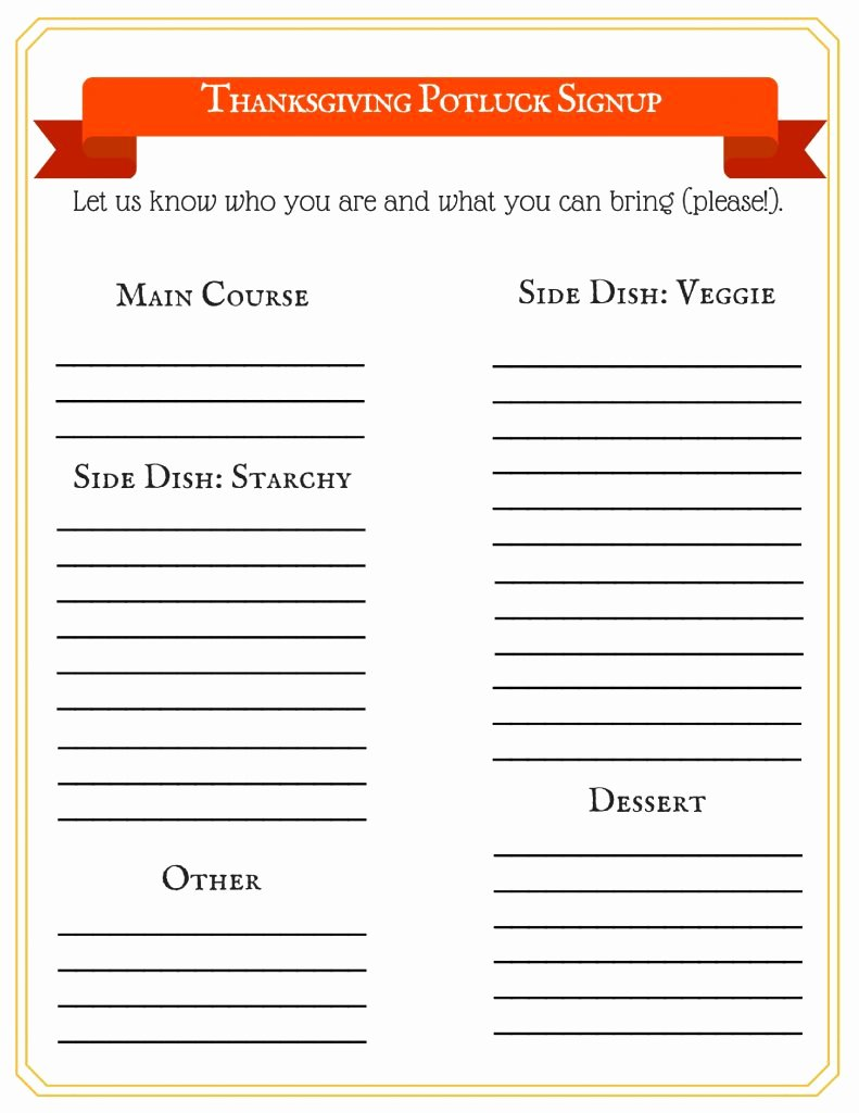 Holiday Potluck Signup Sheet Template Unique This Free Thanksgiving Potluck Signup Sheet Makes Your Big