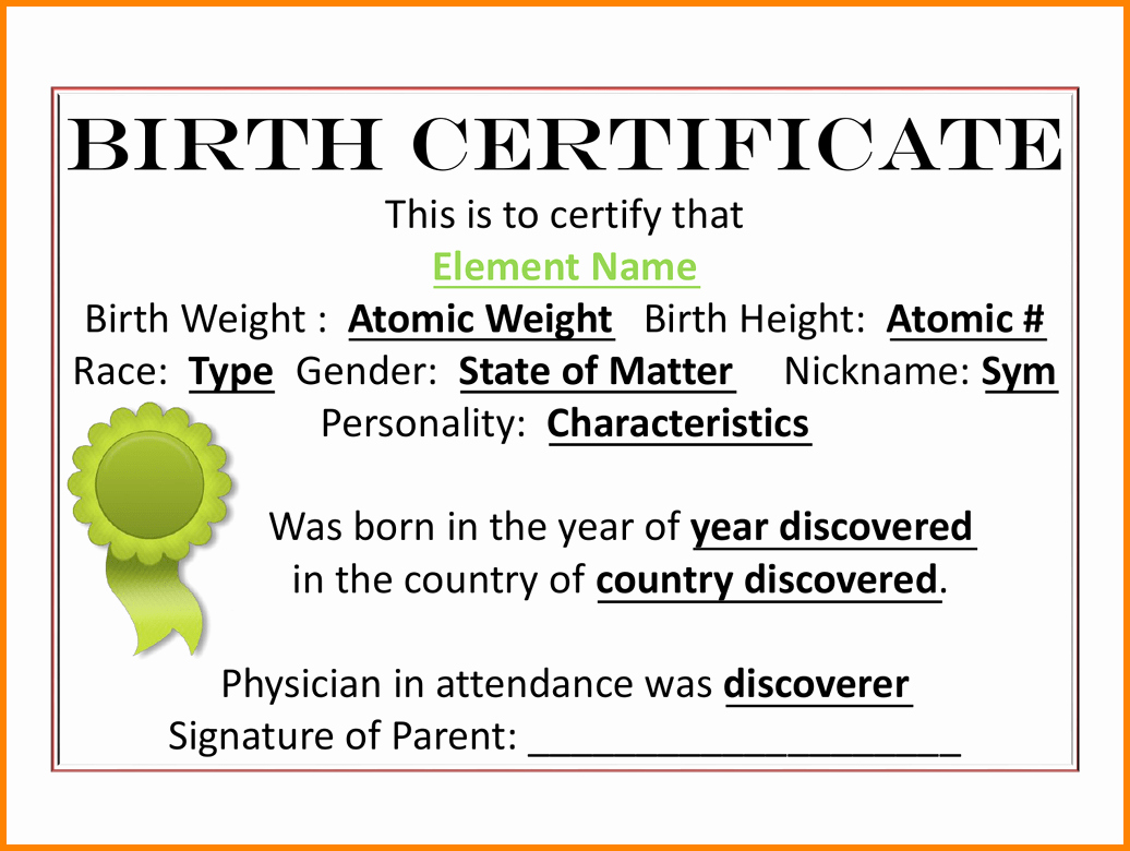 Home Birth Certificate Template New 7 Element Birth Certificate