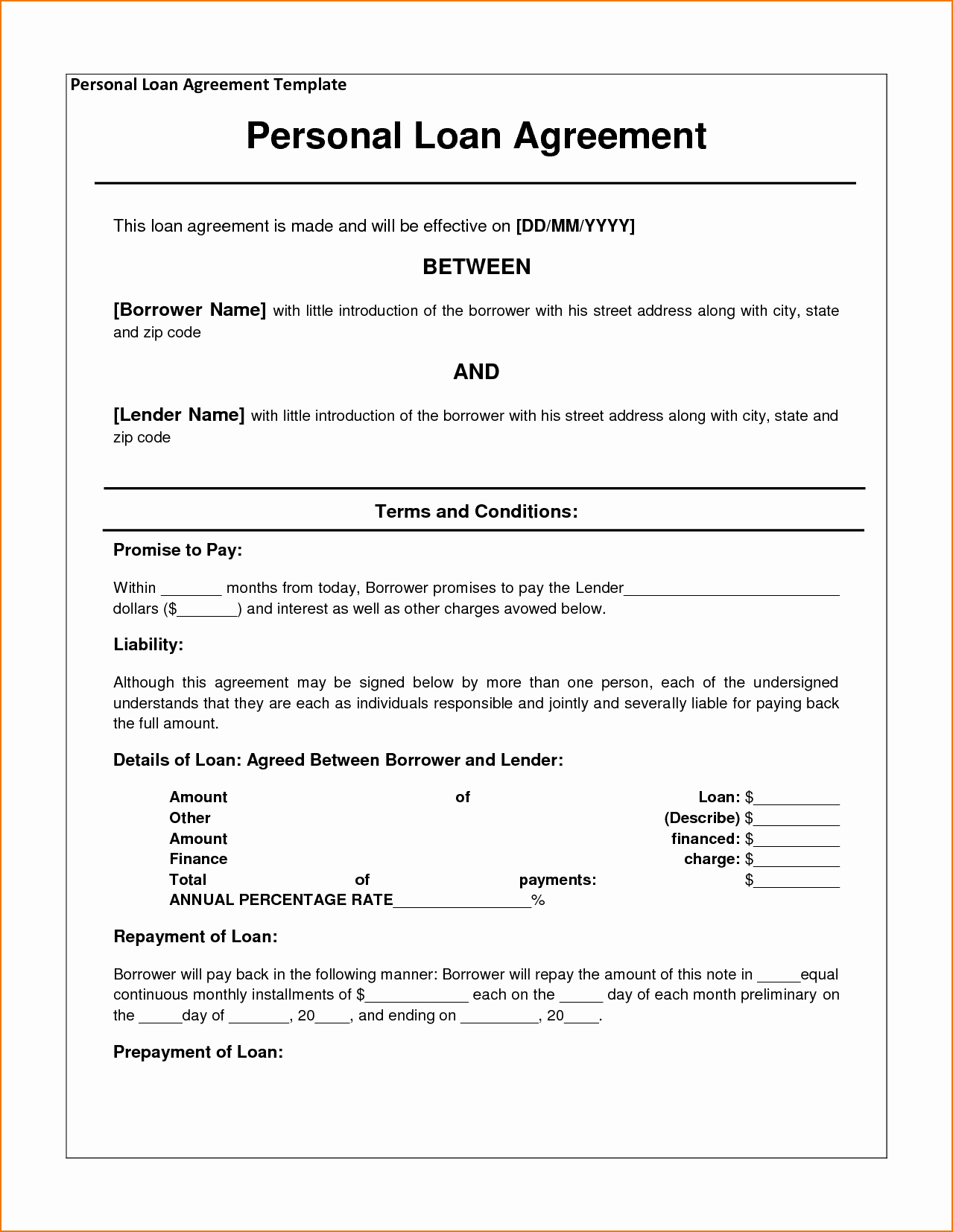 Home Equity Loan Agreement Template New 5 Sample Personal Loan Agreement