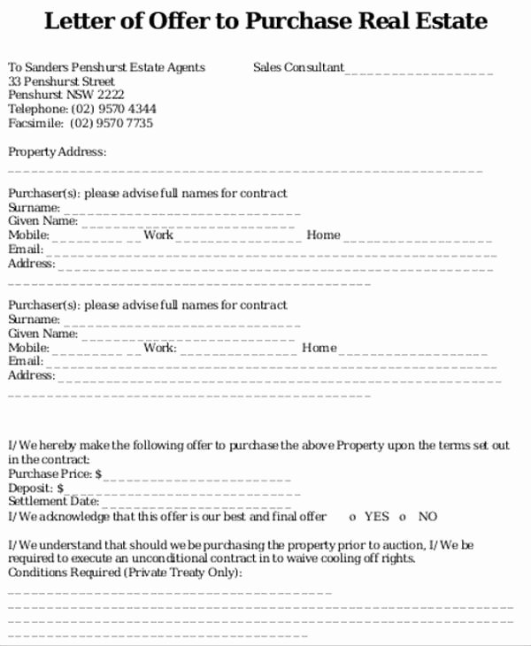 Home Offer Template Awesome Real Estate Fer Letter Template Icebergcoworking