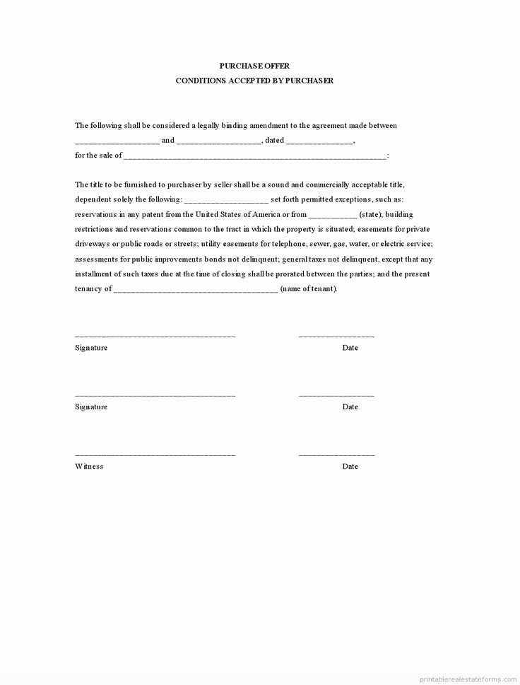 Home Offer Template Elegant Sample Printable Purchase Offer Conditions Accepted by
