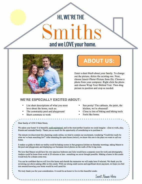 Home Offer Template Fresh Editable Home Offer Letter