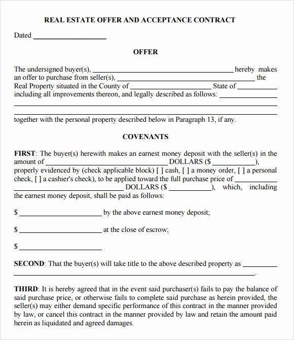 Home Offer Template New Free 9 Sample Fer to Purchase Real Estate forms In Pdf
