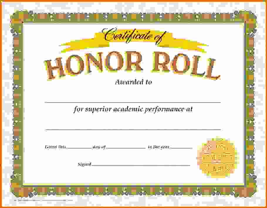 Honor Roll Certificate Template Awesome Honor Roll Certificate Template