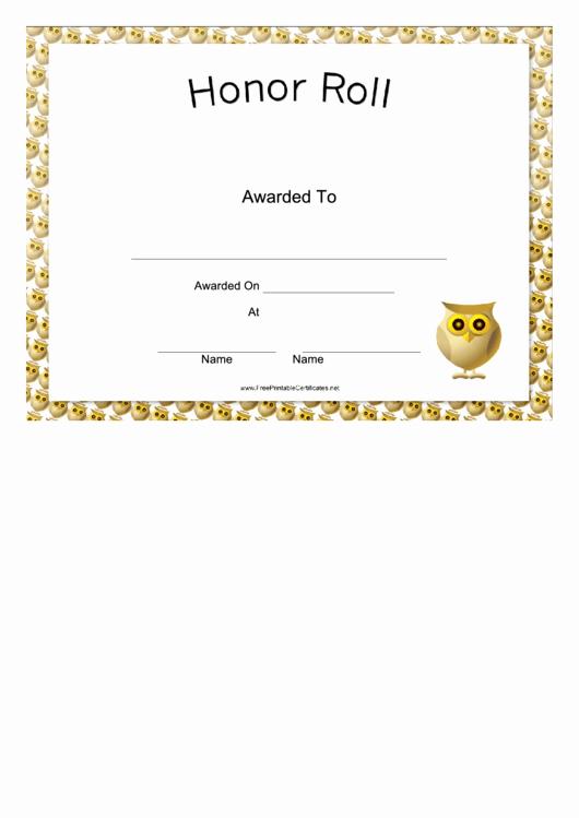 Honor Roll Certificate Template Beautiful Honor Roll Certificate Printable Pdf
