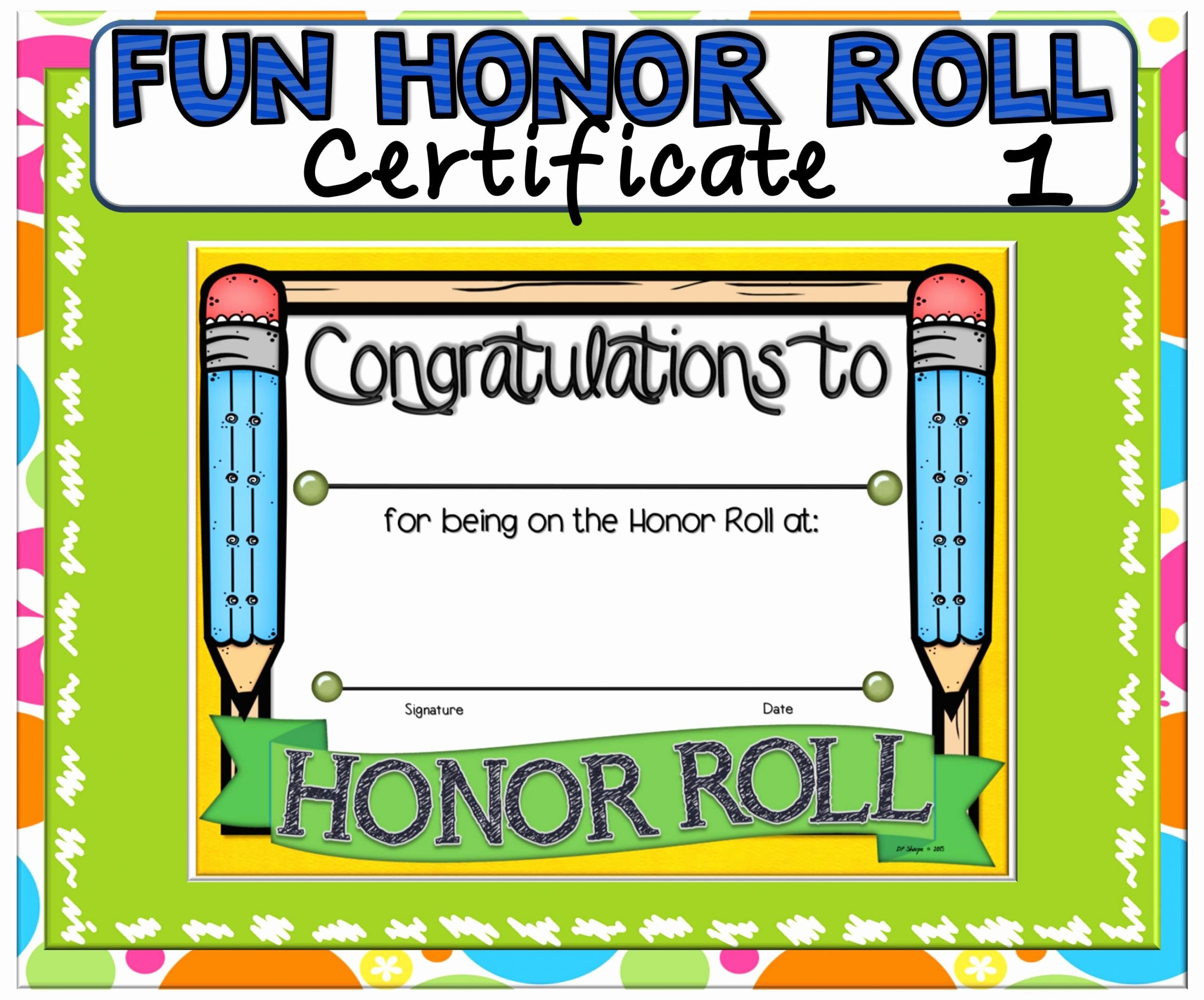Honor Roll Certificate Template Free Fresh Certificate Fun Honor Roll 1