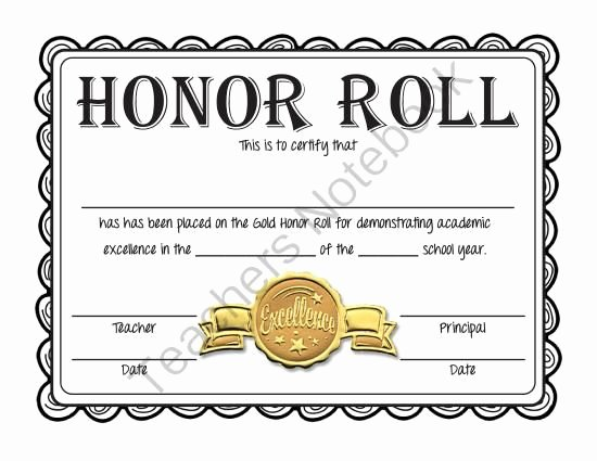 Honor Roll Certificate Template Free Fresh Free Honor Roll Certificates Gold Silver and Bronze