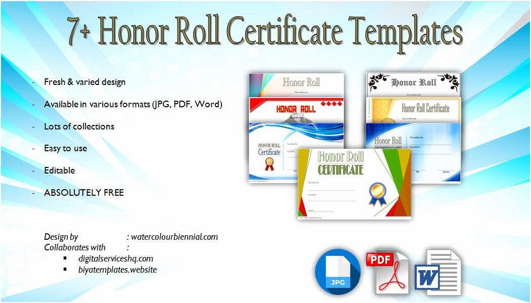 Honor Roll Certificate Template Free Inspirational Honor Award Certificate Templates [9 Ficial Designs Free]