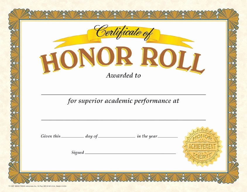 Honor Roll Certificate Template Free New Gold Colored Honor Roll Certificates