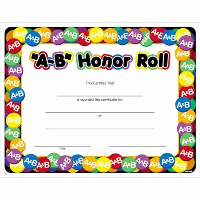 """Honor Roll Certificate Template New A B"""" Honor Roll Certificate"""