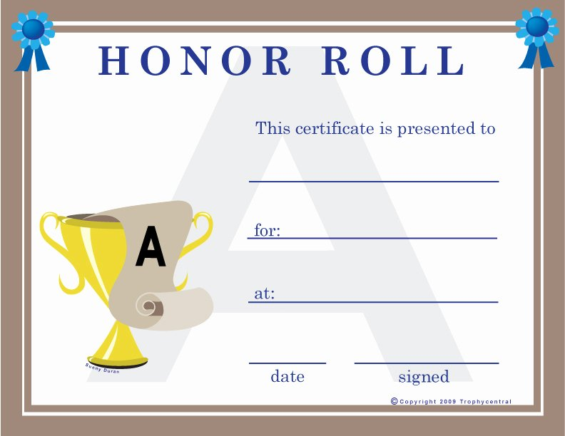 Honor Roll Certificate Template New Free Honor Roll Certificates Certificate Free Honor Roll
