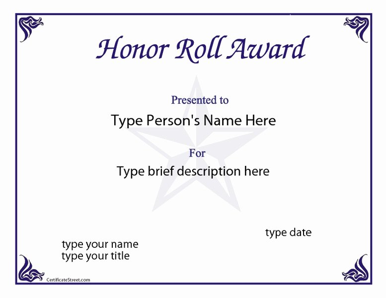 Honor Roll Certificate Template Unique Honor Roll Award Printables & Template for 1st 12th