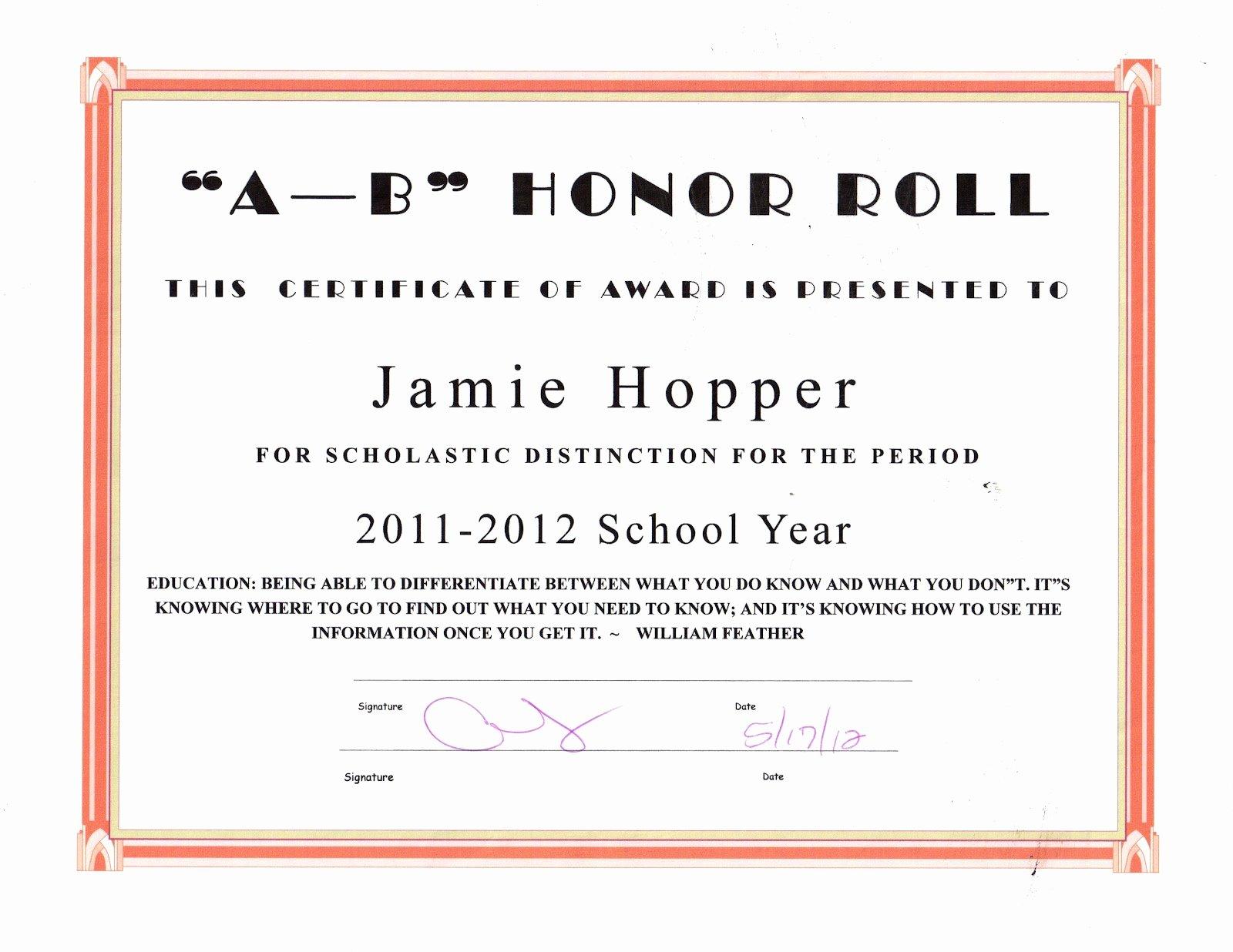 Honor Roll Certificate Template Unique the Jason Hopper Family June 2012