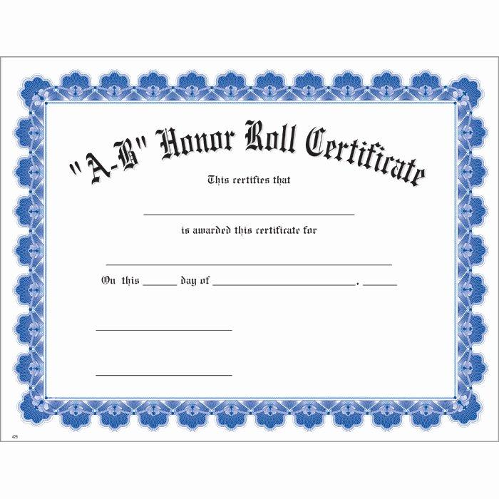 Honor Roll Certificate Templates Free Beautiful A B Honor Roll Blue Uw Certificate Jones School Supply