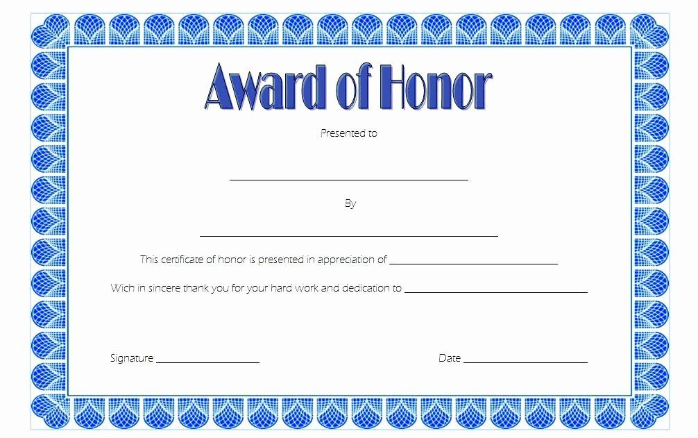 Honor Roll Certificate Templates Free Elegant Certificate Of Honor