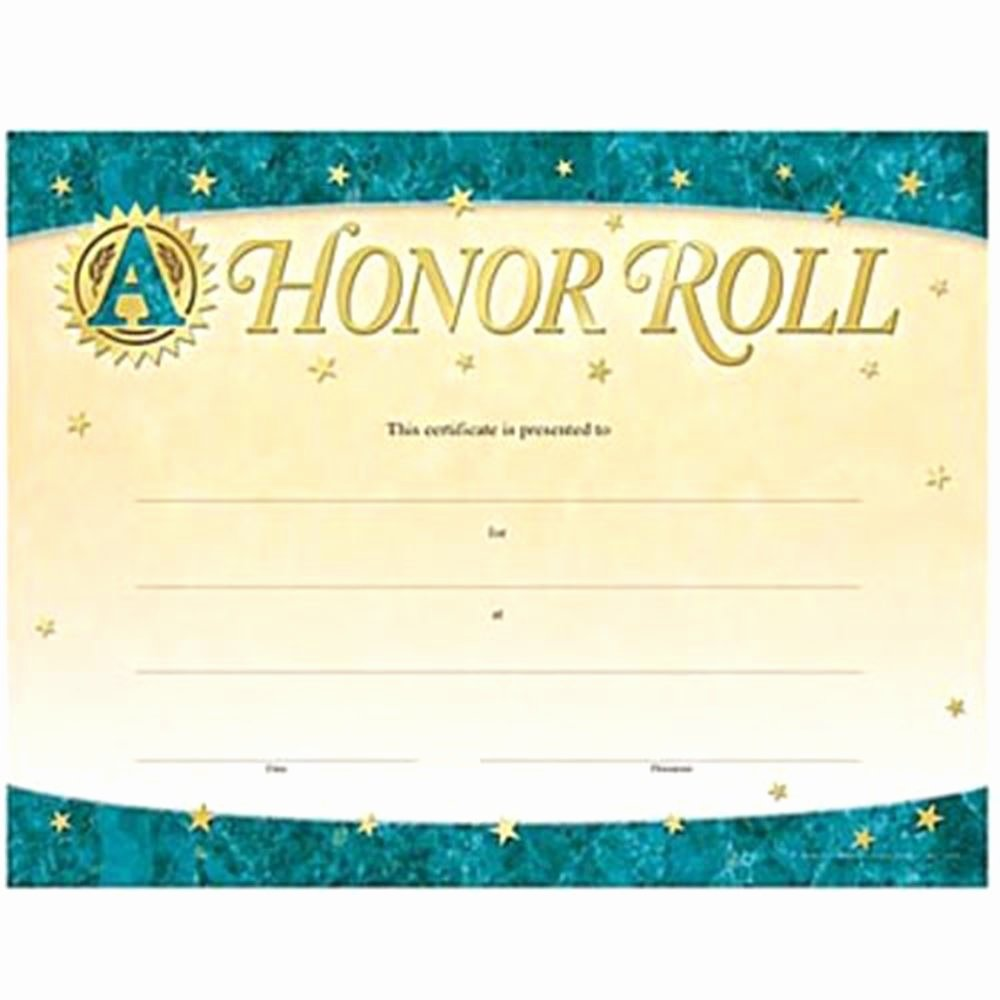 Honor Roll Certificate Templates Free Inspirational A Honor Roll Gold Foil Stamped Certificates