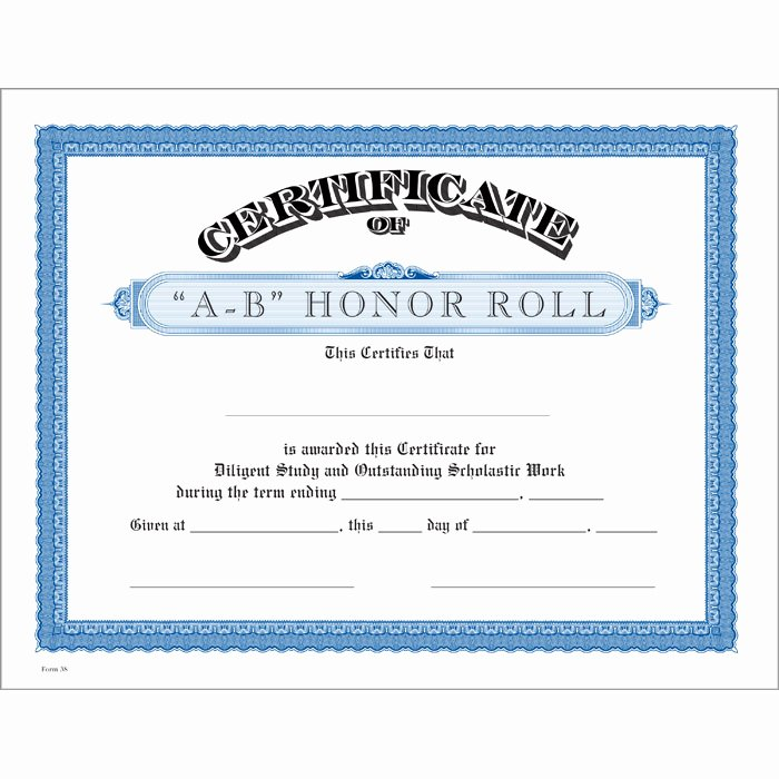Honor Roll Certificate Templates Free New A B Honor Roll Blue Certificate Jones School Supply