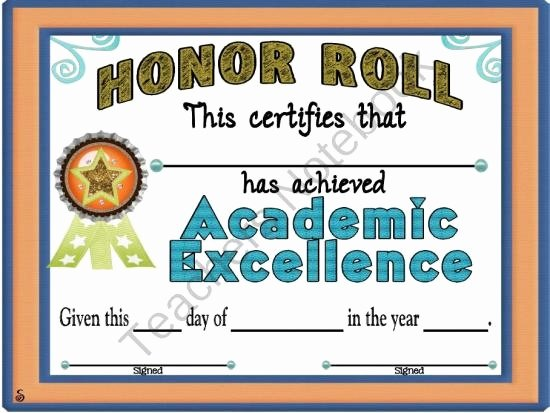 Honor Roll Certificate Templates Free Unique Reward Your Students with This Certificate for Being On