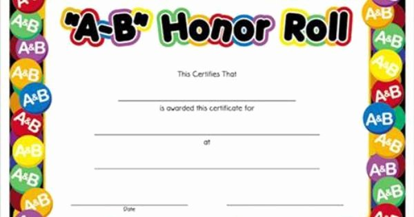 Honor Roll Certificates to Print for Free Awesome A B Honor Roll Award Certificates 8 1 2 X 11