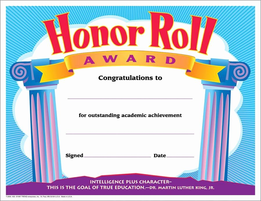 Honor Roll Certificates to Print for Free Beautiful Trend Enterprises Honor Roll Award Colorful Classics